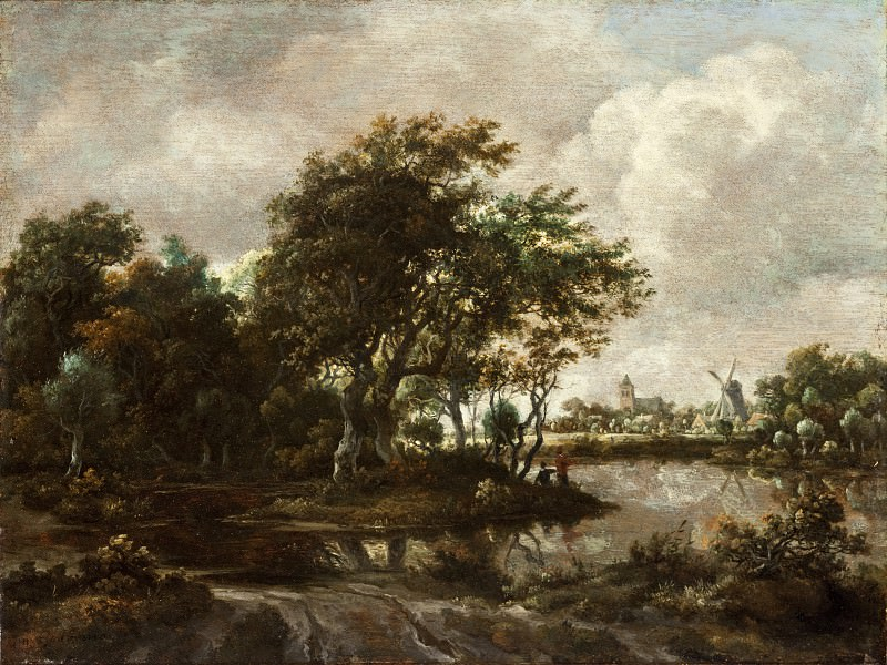 Meindert Hobbema - Landscape with Anglers and a Distant Town. Los Angeles County Museum of Art (LACMA)