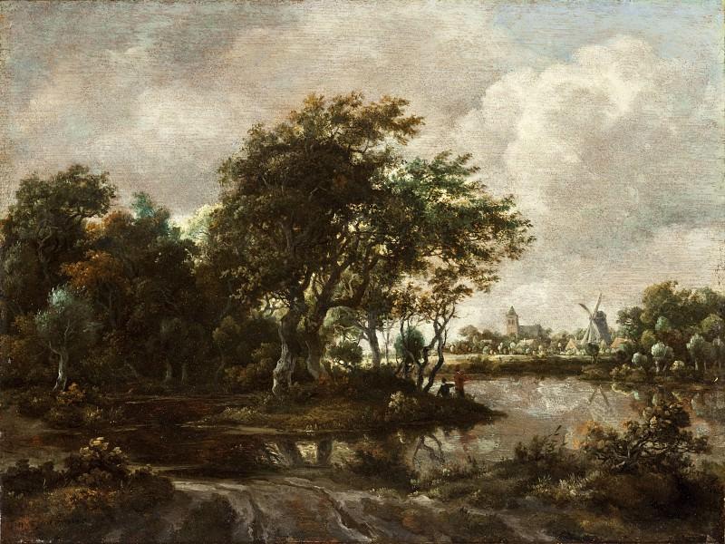 Мейндерт Хоббема - Пейзаж с рыболовами и городом вдали. Окружной художественный музей (LACMA) ~ Лос-Анджелес