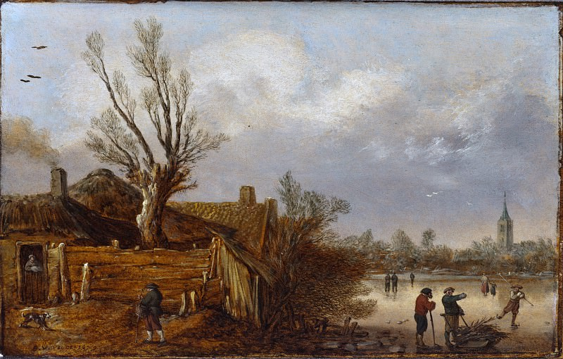 Esaias van de Velde I - Cottages and Frozen River. Los Angeles County Museum of Art (LACMA)