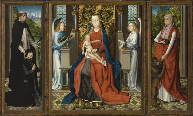 Master of the St. Lucy Legend - Triptych of Madonna and Child with Angels; Donor and His Patron Saint Peter Martyr; and Saint Jerome and His Lion. Los Angeles County Museum of Art (LACMA)