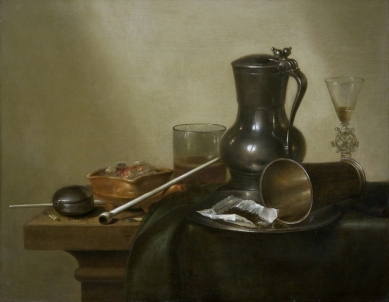 Willem Claesz. Heda - Still Life with Tobacco, Wine and a Pocket Watch. Los Angeles County Museum of Art (LACMA)