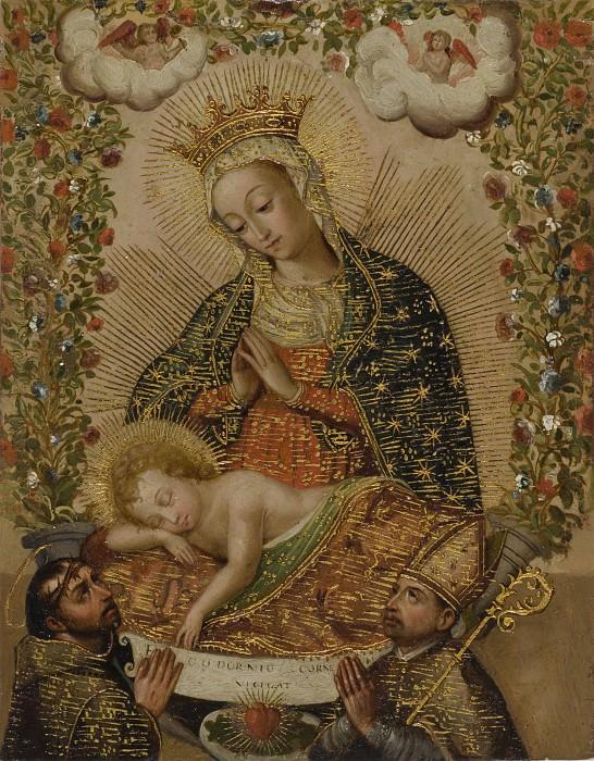 Unknown - The Virgin Adoring the Christ Child with Two Saints (La Virgin adorando al Nino Jesus con dos santos). Los Angeles County Museum of Art (LACMA)