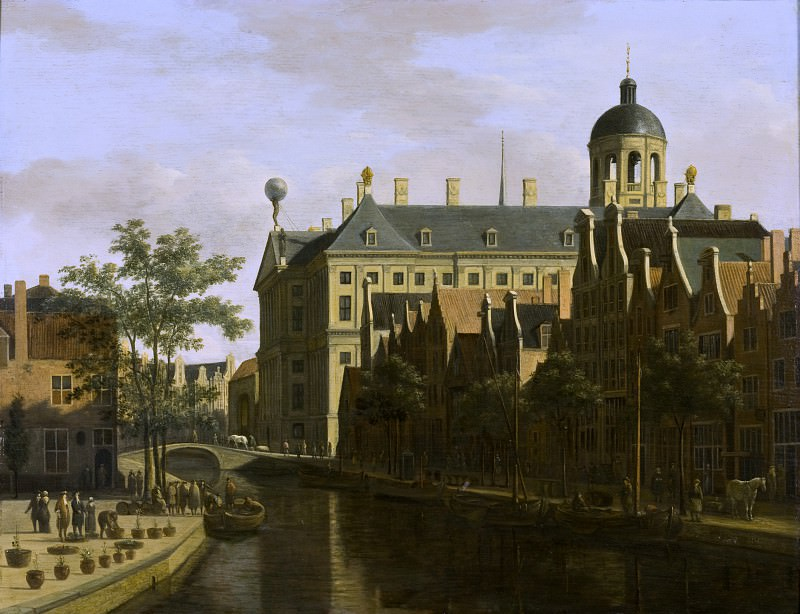 Gerrit Berckheyde - The Nieuwezijds Voorburgwal with the Flower Market in Amsterdam. Los Angeles County Museum of Art (LACMA)