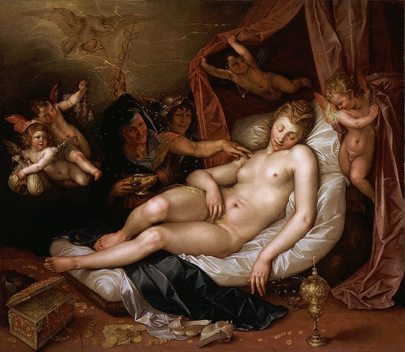 Hendrik Goltzius - The Sleeping Danae Being Prepared to Receive Jupiter. Los Angeles County Museum of Art (LACMA)