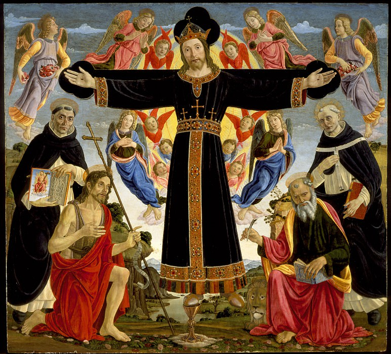 Master of the Fiesole Epiphany - Christ on the Cross with Saints Vincent Ferrer, John the Baptist, Mark and Antoninus. Los Angeles County Museum of Art (LACMA)