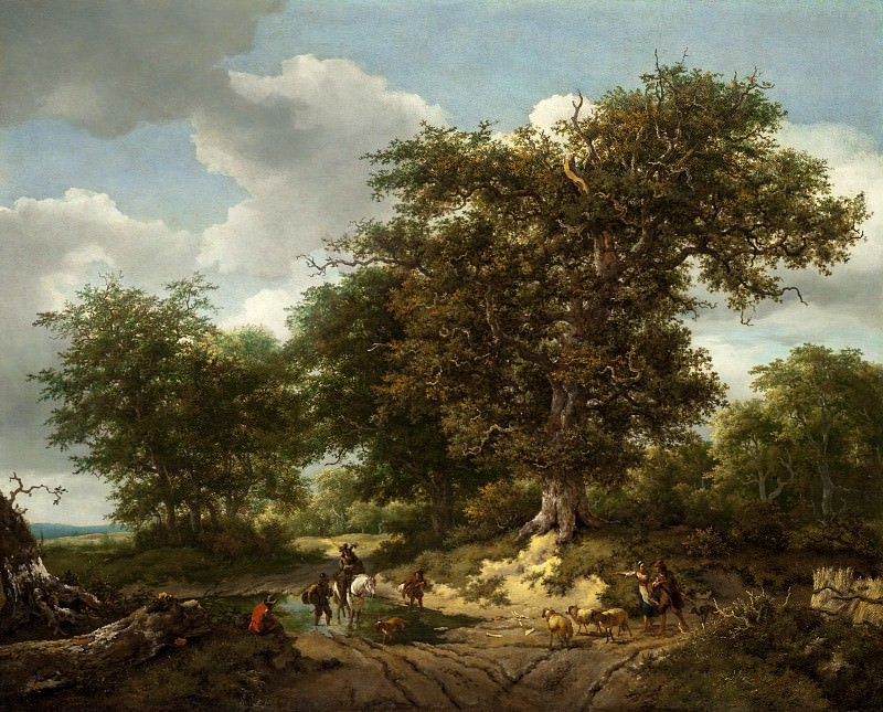 Ruisdael, Jacob van; Berchem, Nicolaes Pietersz - The Great Oak. Los Angeles County Museum of Art (LACMA)