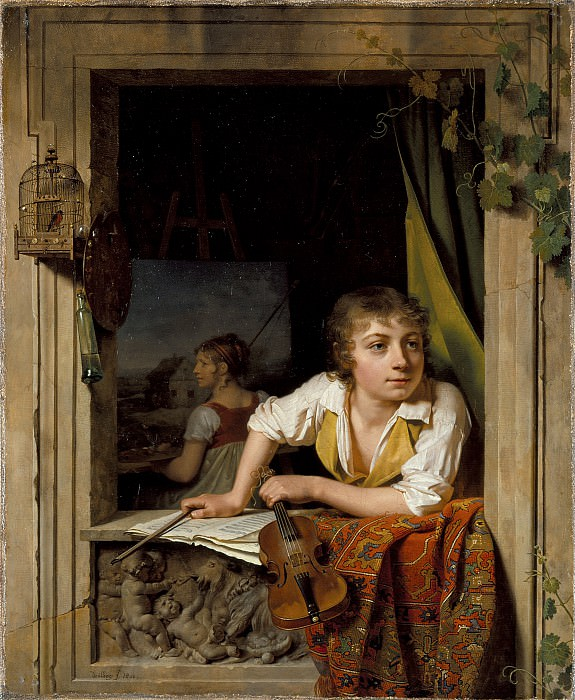 Martin Drolling - Painting and Music (Portrait of the Artist′s Son). Los Angeles County Museum of Art (LACMA)