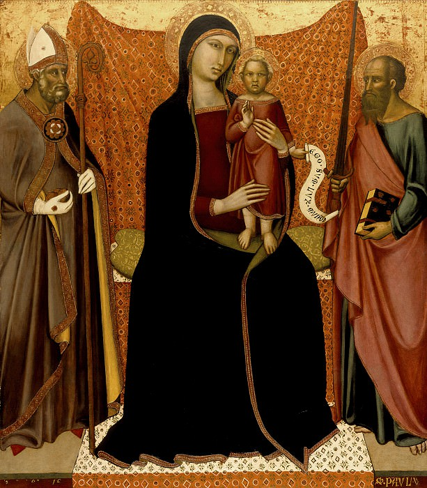 Luca di Tomme - Madonna and Child with Sts. Nicholas and Paul. Los Angeles County Museum of Art (LACMA)