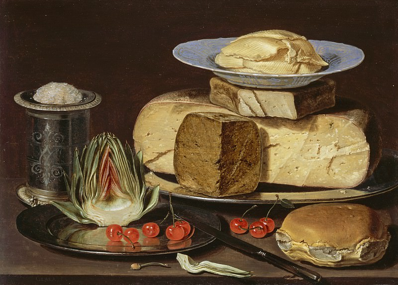 Clara Peeters - Still Life with Cheeses, Artichoke, and Cherries. Los Angeles County Museum of Art (LACMA)