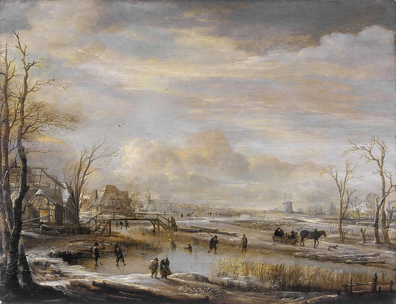 Арт ван дер Неер - Замерзшая река и пешеходный мостик. Окружной художественный музей (LACMA) ~ Лос-Анджелес