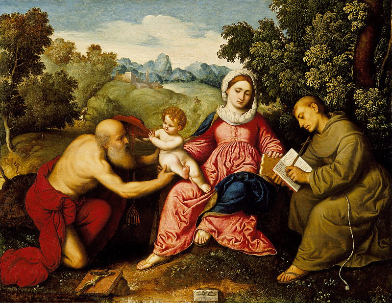 Paris Bordone - Madonna and Child with Saints Jerome and Francis. Los Angeles County Museum of Art (LACMA)