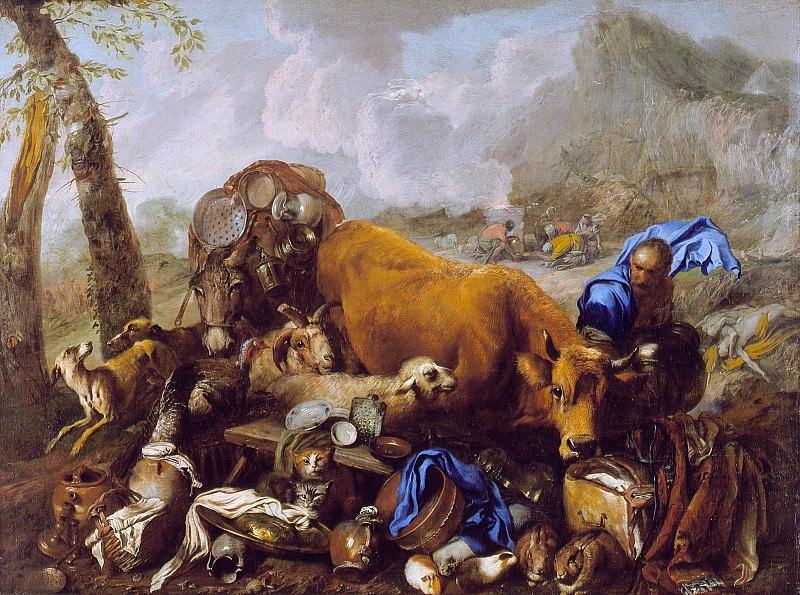 Giovanni Benedetto Castiglione (called il Grechetto) - Noah′s Sacrifice after the Deluge. Los Angeles County Museum of Art (LACMA)