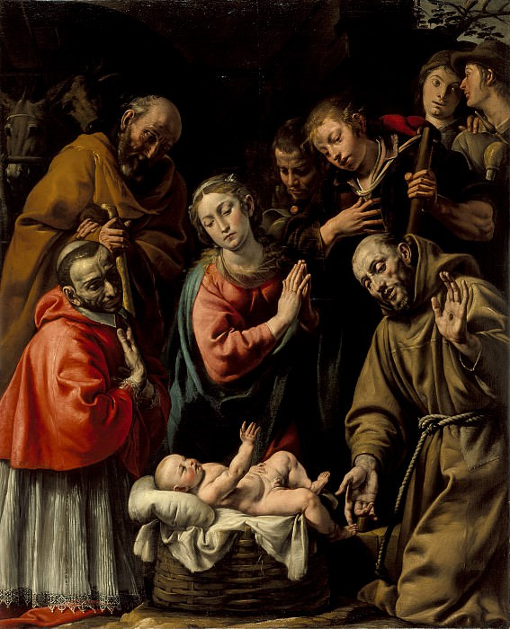 Antonio d′ Enrico (called Tanzio da Varallo) - Adoration of the Shepherds with Saints Francis and Carlo Borromeo. Los Angeles County Museum of Art (LACMA)