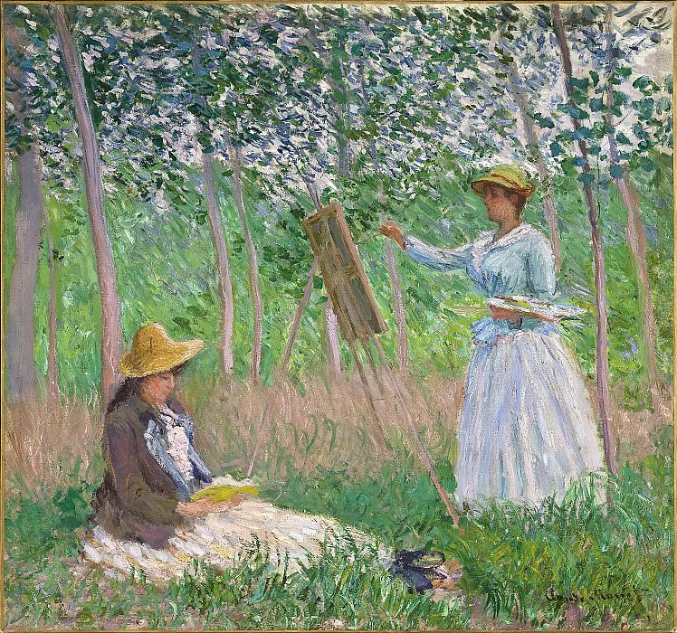 Claude Monet - In the Woods at Giverny: Blanche Hoschede at Her Easel with Suzanne Hoschede Reading. Los Angeles County Museum of Art (LACMA)