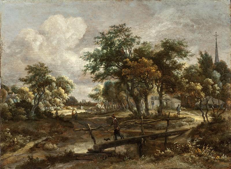 Meindert Hobbema - Landscape with a Footbridge. Los Angeles County Museum of Art (LACMA)