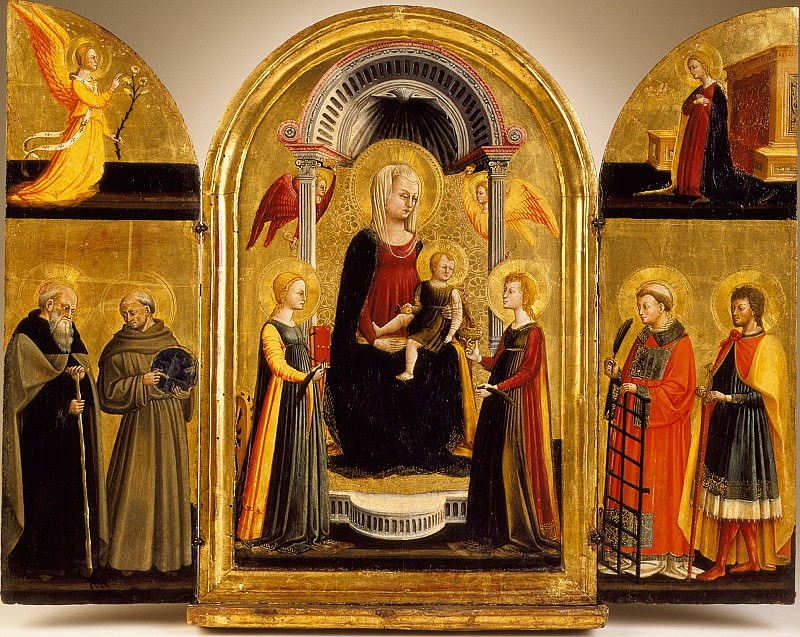Neri Di Bicci - Triptych of the Madonna and Child with Saints. Los Angeles County Museum of Art (LACMA)