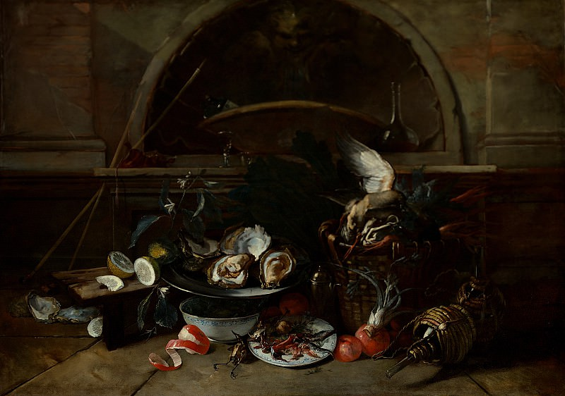 Nicola van Houbraken - Still Life with Bottles and Oysters. Los Angeles County Museum of Art (LACMA)