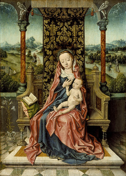 Aelbrecht Bouts - Madonna and Child Enthroned. Los Angeles County Museum of Art (LACMA)