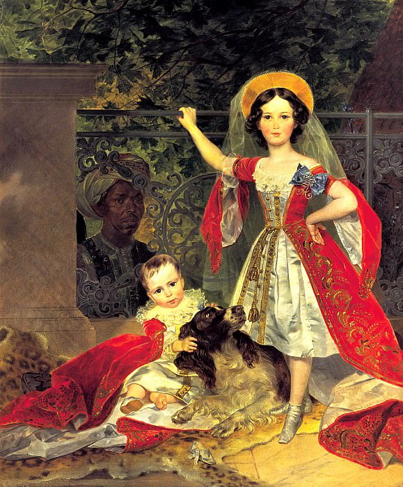 BRYULLOV Karl - Portrait of children with Volkonskiis arap. 900 Classic russian paintings