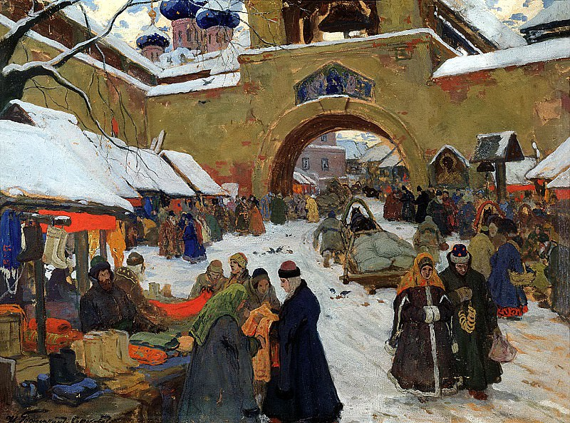 Goryushkin-Sorokopudov Ivan - Market day. 900 Classic russian paintings