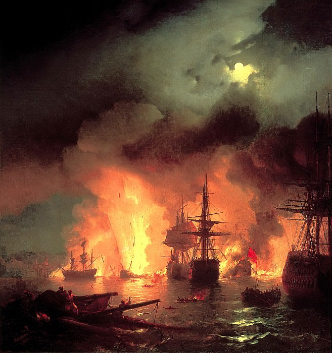 Ivan Aivazovsky - The Battle of 25-26 June 1770. 900 Classic russian paintings