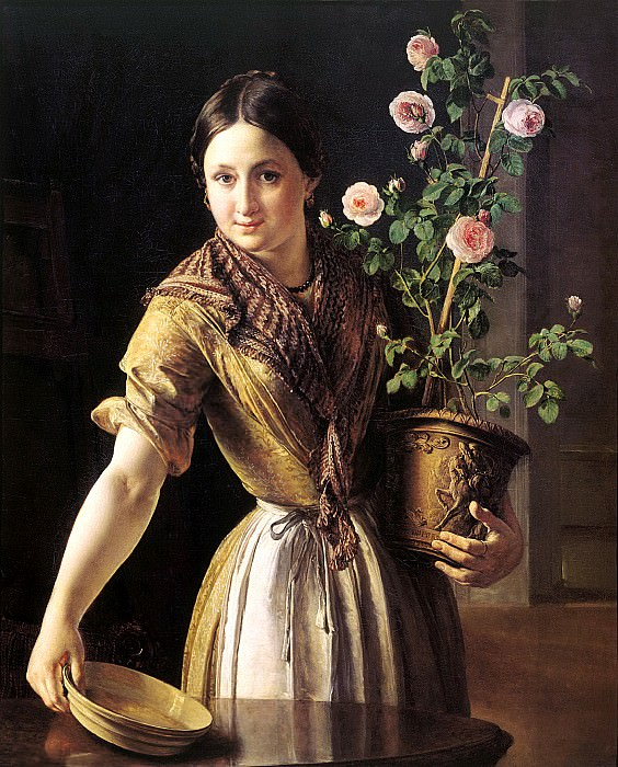 Tropinin Basil - Girl with a pot of roses. 1850. 900 Classic russian paintings