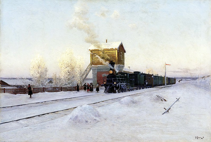 Kazantsev Vladimir - at the station. Winter morning at the Ural Railway. 900 Classic russian paintings