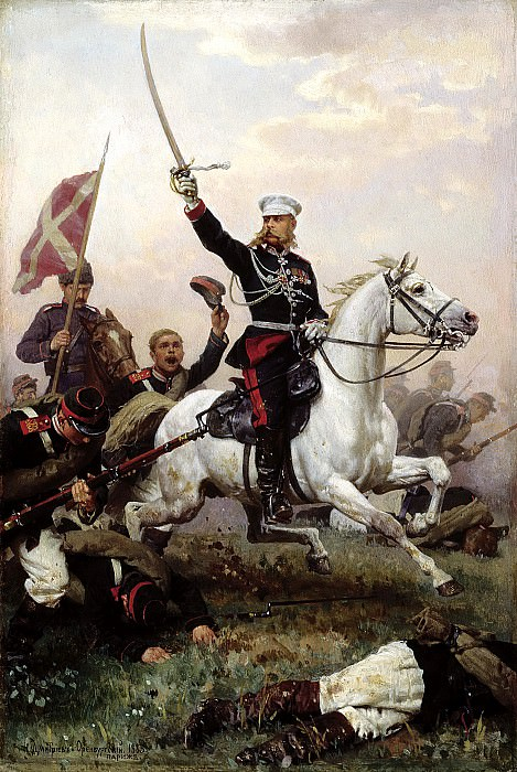 Nikolai Dmitriev-Orenburgsky - General Nikolai Skobelev on horseback. 900 Classic russian paintings
