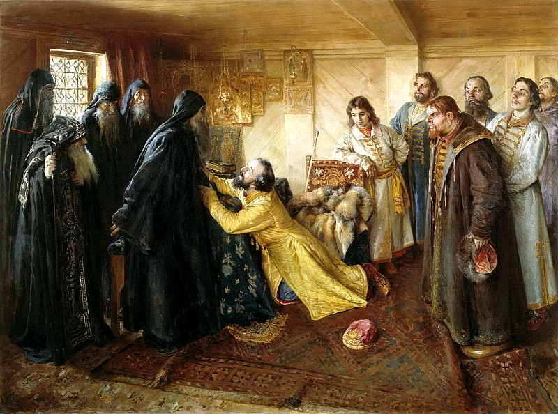 LEBEDEV Claudius - Tsar Ivan the Terrible requests Abbot Cornelius mow it monks. 900 Classic russian paintings