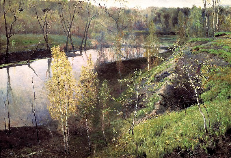 Ostrouhov Ilya - the first greens. 900 Classic russian paintings