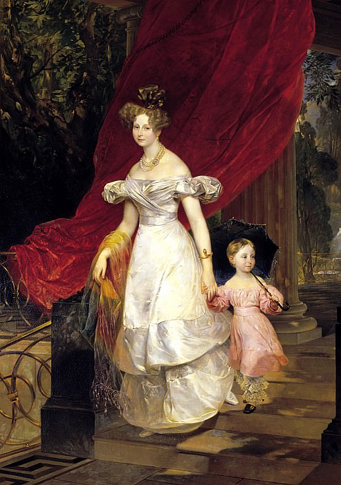 BRYULLOV Karl - Portrait of Grand Duchess Elena Pavlovna and her daughter Maria. 1830. 900 Classic russian paintings