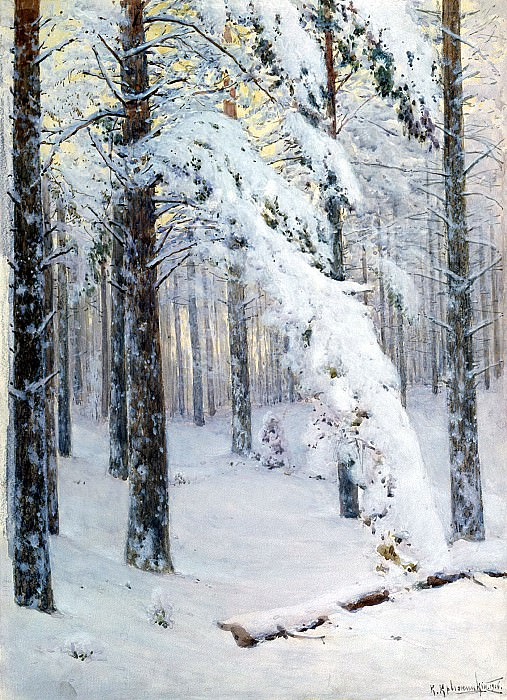 Kryzhitsky Constantine - Forest in winter. 900 Classic russian paintings