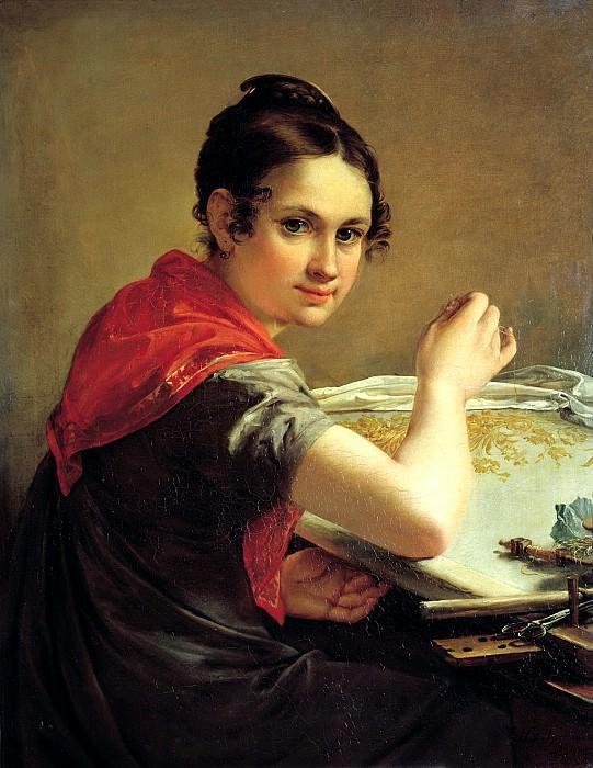 ТРОПИНИН Василий - Золотошвейка. 1826. 900 Картин самых известных русских художников