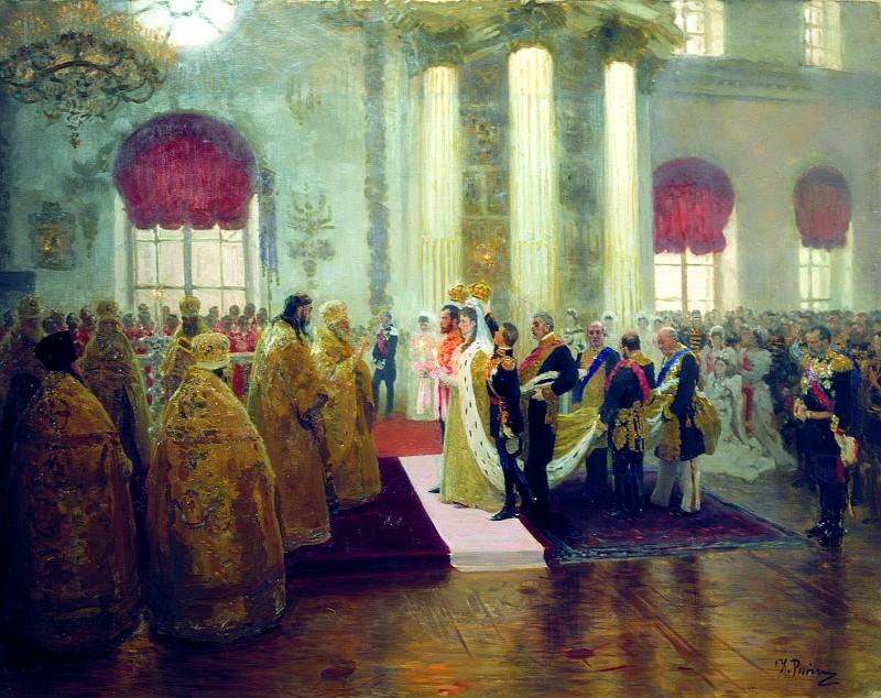 Ilya Repin - Wedding of Nicholas II and Grand Duchess Alexandra Feodorovna. 1894. 900 Classic russian paintings