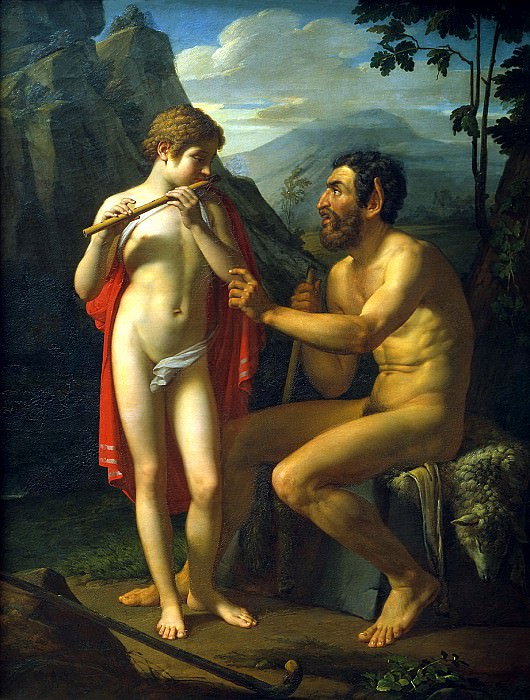 Basin Peter - Faun Marsyas teaches young Olympia playing the flute. 900 Classic russian paintings