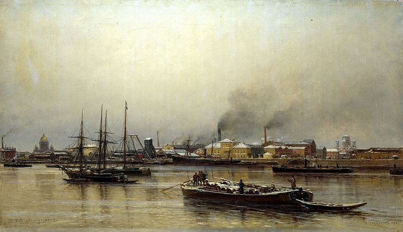 Beggrov Alexander - Neva Embankment. 900 Classic russian paintings