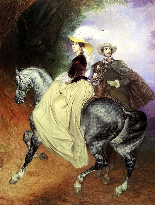 BRYULLOV Carl - Riders (Portrait EI Mussard and E. Mussard). 900 Classic russian paintings