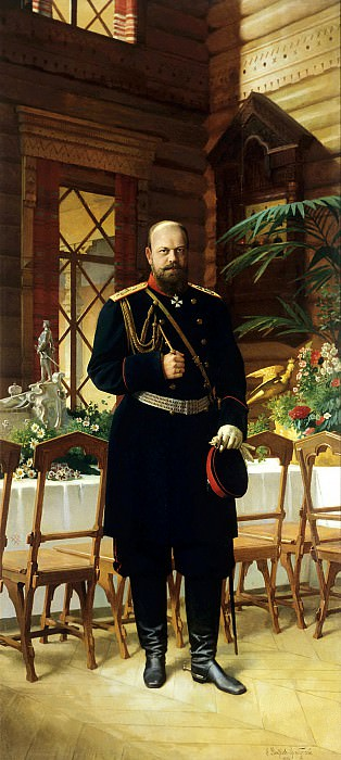Dmitriev-Orenburgsky Nikolai - Portrait of Emperor Alexander III. 900 Classic russian paintings
