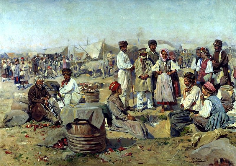 Makovsky Vladimir - Fair in Poltava. 900 Classic russian paintings