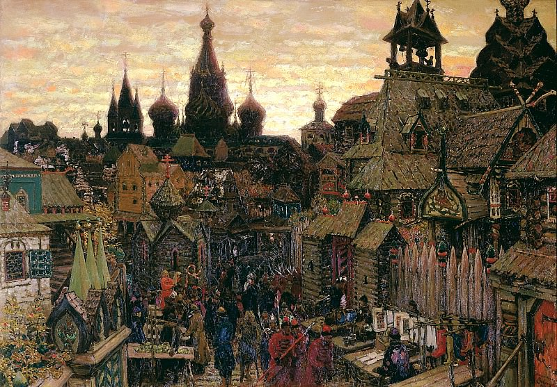 Vasnetsov Apollinary - Old Moscow. Street in China-town in early XVII century. 900 Classic russian paintings