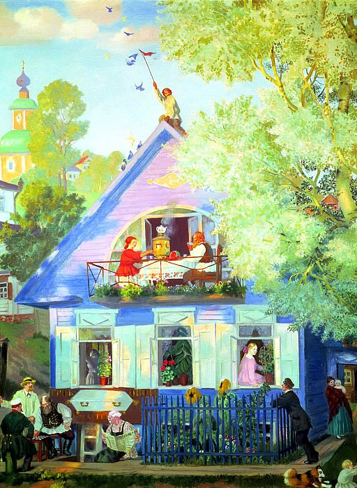 Kustodiyev Boris - Blue House. 900 Classic russian paintings