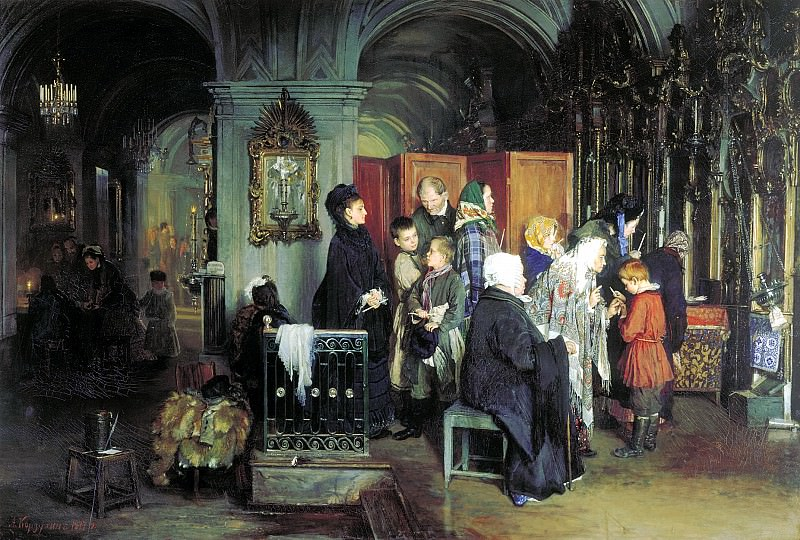 KORZUKHIN Alexei - Before Confession. 900 Classic russian paintings