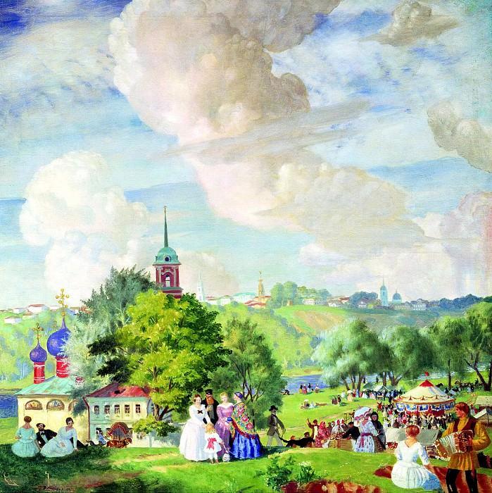 Kustodiyev Boris - Summer landscape. 900 Classic russian paintings