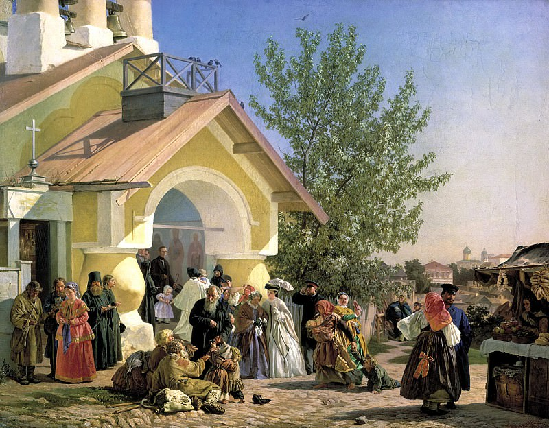 Morozov Alexander - Exit from the church in Pskov. 900 Classic russian paintings