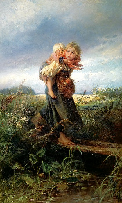 MAKOVSKY Constantine - children fleeing from the storm. 900 Classic russian paintings