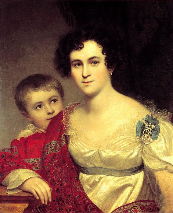Kiprensky Orestes - Portrait Avdotya Ivanovna Molchanova with her daughter Elizabeth. 1814. 900 Classic russian paintings