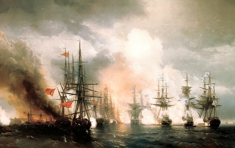 Ivan Aivazovsky - Sinop fight (day version). 900 Classic russian paintings