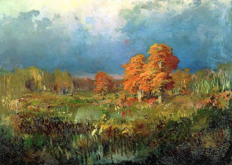 Fedor Vasiliev - swamp in the forest. Autumn. 900 Classic russian paintings