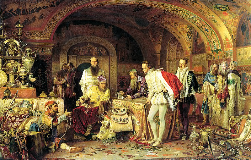 Lytovchenko Alexander - Ivan the Terrible shows the treasures of the British Ambassador Horsey. 900 Classic russian paintings