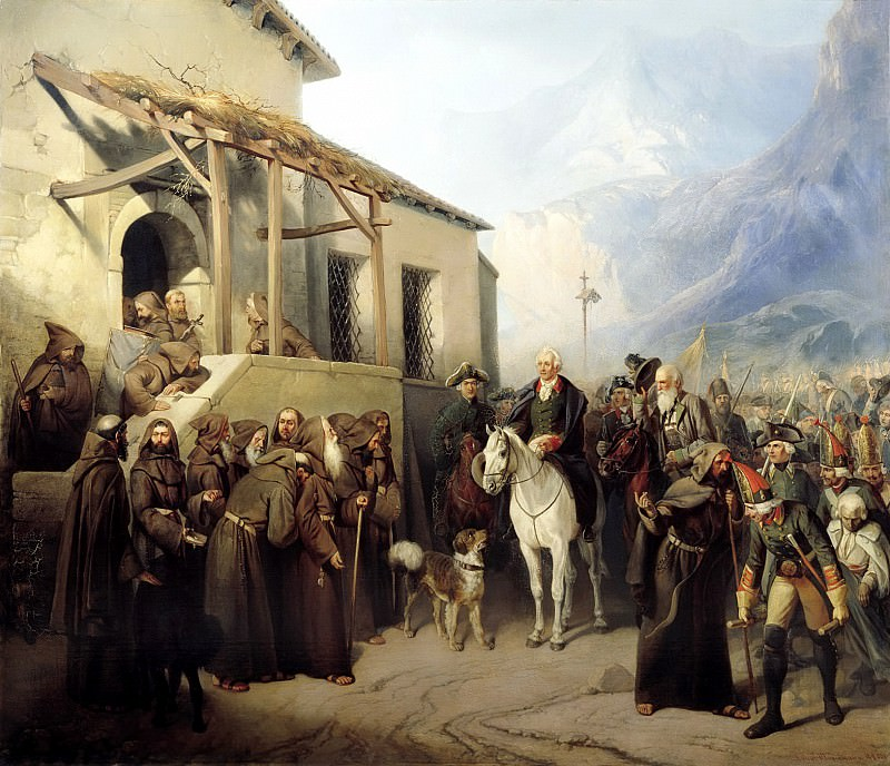 Adolphe CHARLEMAGNE - Field Marshal Alexander Suvorov at the top of the St. Gotthard September 13, 1799. 900 Classic russian paintings